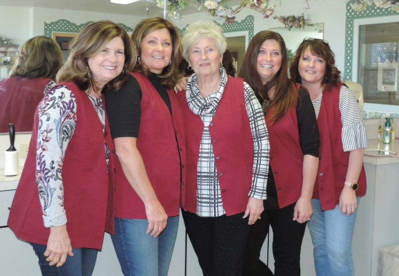 A family of stylists carries on a half-century tradition of volunteer hair care. From left are Bonnie Jones, Becky Webb, Sandy Garrard, Brenda Olsen and Natalie Smyer.