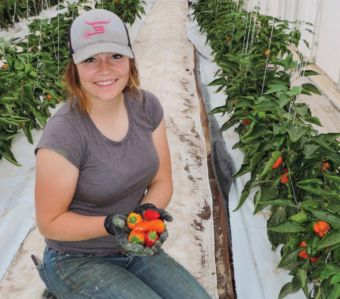 Annie Smith cradles freshly picked mini sweet peppers.