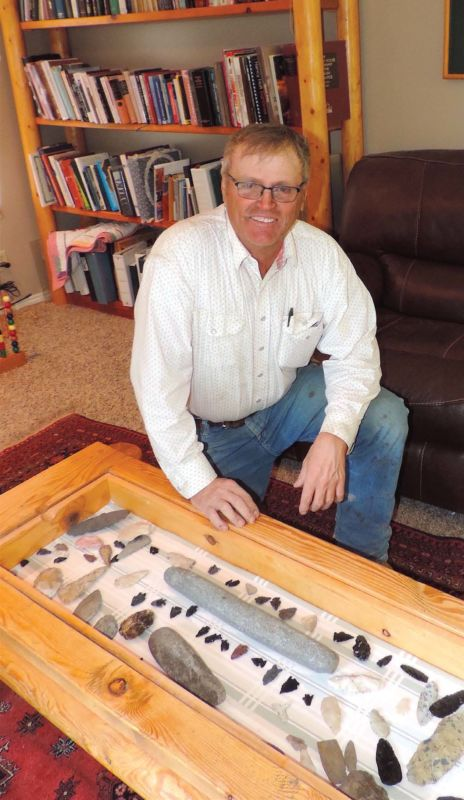 Jay Tanner has been collecting stone artifacts for a half century. Jay has a display of countless stone tools made of obsidian, chalcedony and chert.