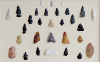 Jay has a display of countless stone tools made of obsidian, chalcedony and chert.