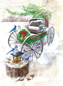 Working from a photo of her carriage, Darla added birds and other details to reproduce it and make it into one of her Christmas cards.